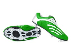 Green soccer footwear | Isolated (InGravityLAB) Tags: soccer shoes boots isolated white sports footwear foot sport professional leather shoe boot athlete athletic background black feet football game male man play sneakers sole sportsman sporty strength green color colour colorful steel metal eco accessories challenge competition fitness exercise cut out cutout nobody object