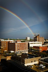 Rainbow Skyline (Notley) Tags: rainbow architecture outdoor city skyline sky road cloud cloudysky httpwwwnotleyhawkinscom notleyhawkinsphotography notley notleyhawkins 10thavenue clouds 2016 summer august tigerhotel downtowncolumbiamissouri columbiamissouri bocomo como