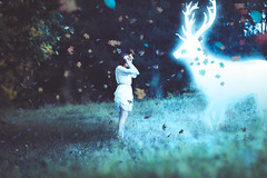 Expecto patronum (AlexaSvilkic) Tags: expecto patronum alexa svilkic mrsvilkic magic art photography concept deer glow blue forest canon 600d