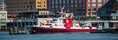 2016 - New York City - THREE FORTY THREE (Ted's photos - Returns late November) Tags: 2016 cropped nikon nikond750 nikonfx nyc newyorkcity tedmcgrath tedsphotos vignetting threefortythree fireboat boat fdny fdnythreefortythree bloomfieldstreet pier57 hudsonriver flag usaflag pier dock water windsock robertallanltd easternshipbuildinggroup