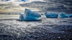 Ice of Jkulsrln (deborahmoynihan) Tags: jkulsrln icebergs blue longexposure ice beach blacksand sea water sky clouds hdr aurorahdr nikond7200 tamron1024mm nd1000 10stop srbphotographic seascape landscape travel iceland