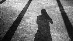 Selfie of Photographer in between Shadows (danliecheng) Tags: 169 abstract artistic between blackandwhite bold freedom ground jail lines people photographer photography portrait prison road rules selfportrait selfie shadow silhouette