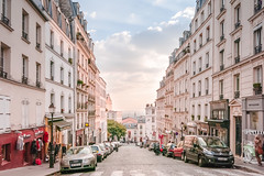 Montmartre Street at Dusk (YWphotography) Tags: paris travel montmartre europe history historical scenic wander wanderlust pink blue dusk sunset glow light urban city shops quaint fashion car audi french france fall autumn evening canon g15 lightroom windows parisian francais rue