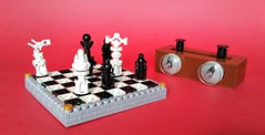 Checkmate! (Roy of Floremheim) Tags: lego build creation royoffloremheim absbuilderchallengeround16 contest chessset chesspieces board clock queen pawn bishop rook knight king black white checkeredpattern stonework