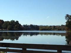 Peaceful Day (Melinda Stuart) Tags: autumn reflection nature water mirror nc asheville dam deck observatory sanctuary beaverlake