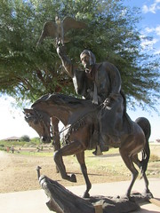 Moroccanonhorseback (Nancy D. Brown) Tags: arizona sculpture falcon bronzestatue scottsdale arabianhorse horseman loscedros