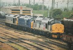 """Class 37's, 37683 & 37383, & Class 60, 60061 """"Alexander Graham Bell"""" (37190 """"Dalzell"""") Tags: tractor warrington doughnut depot tug growler bigt alexandergrahambell class37 class60 class373 class375 37167 37383 37683 triplegrey 60061 transrail arpley trainloadfreight mainlinefreight aircraftblue"""