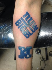 NY football giants tattoo by Wes Fortier - Burning Hearts Tattoo Co. 1430 Meriden Rd.  Waterbury, CT