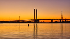 BOLTE BRIDGE AT SUNSET (16th man) Tags: bridge sunset canon eos australia melbourne victoria christmaslights docklands vic boltebridge yarrariver eos5dmkii