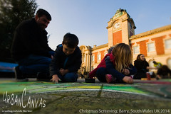Christmas Screeving (UrbanCanvas) Tags: christmas uk family urban art public wales kids giant children square switch lights town chalk artist floor artistic outdoor drawing pavement south arts creative picture garland holly canvas sidewalk event kings workshop artists barry welsh colourful activity chalking chalks urbancanvas screeving