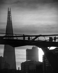 Morning on the Millennium bridge (35mmMan) Tags: urban london monochrome blackwhite cityscape milleniumbridge shard shardlondon samsungkzoom