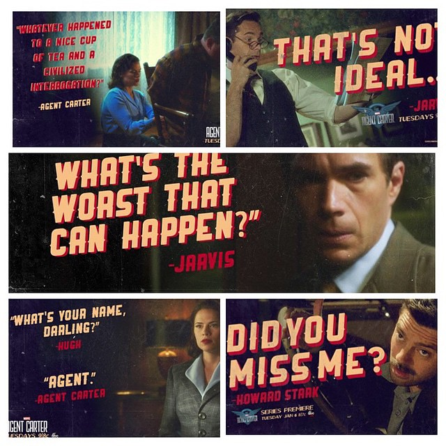 #AgentCarter #PeggyCarter #Jarvis #HowardStark #Marvel #Abc #Loveit @agent_carter @realhayleyatwell @dominiccoop