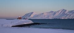Sunny sunday (joningic) Tags: winter red sea sky mountain snow mountains landscape redhouse eyjafjrur dalvk dalvkurbygg