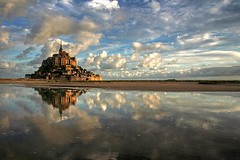 197036291480837 (coreyloveall2784) Tags: sky france reflection water saint clouds europe michel normandy mont