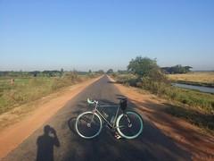 Myanmar, Yangon Region, Northern District, Hmawbi Township, Kan Ka Lay Village Tract (Die Welt, wie ich sie vorfand) Tags: shadow bicycle myself cycling yangon burma myanmar steamroller surly rangoon northerndistrict hmawbi yangonregion hmawbitownship kankalay