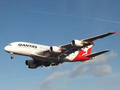 Qantas Airbus A380-842 (PlaneSpottingUK) Tags: london plane photography fly flying photo airport heathrow aviation air flight aeroplane hobby landing airline planes airbus a380 fujifilm airlines av airliner lhr planespotting airbusa380 myrtleavenue londonheathrow avgeek hs30exr