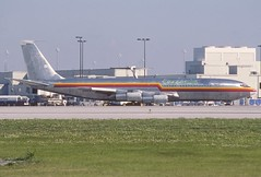 SAM Colombia (Florida West Airlines) Boeing 707-373C; N760FW, February 1991 (Aero Icarus) Tags: plane aircraft flugzeug avion freighter slidescans boeing707 samcolombia floridawestairlines n760fw