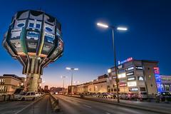 Bierpinsel Berlin Steglitz (Michael_H.) Tags: bridge urban berlin tower architecture germany deutschland graffiti restaurant haus treppe architektur bluehour brcke turm bauwerk allemagne gebude gastronomie steglitz lokal blauestunde bierpinsel aussenaufnahme schlossstrase ohnemenschen