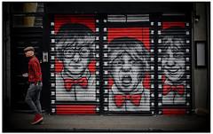 ZABOU SHUTTER WORK (StockCarPete) Tags: streetart film stencil shutters bowties sprocketholes londonstreetart shutterart zabou