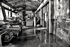 Confusion? (Henryark) Tags: white black industry monochrome blackwhite raw mechanical rusty workshop archeology decadent officine