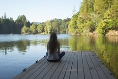 Summer and Serene (sweet.disposition) Tags: california summer santacruz lake water girl june woods sitting quiet peace longhair calm jeans felton redwoods lochlomond lochlomondlake