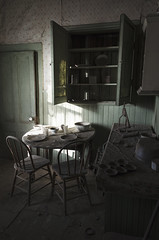 The Last Supper (David Colombo Photography) Tags: california light shadow abandoned kitchen town nikon chairs interior room urbandecay indoor mining diningroom ghosttown dining bodie 1855mm sierranevada bodieghosttown d5100 davidcolombo davidcolombophotography