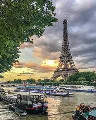 Passing by the Eiffel (Beum Gallery) Tags: sunset sky paris france tourism skyline clouds sunrise square dawn dusk skylight eiffel squareformat ironlady iphoneography instagramapp