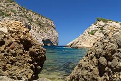 Rocks and sea and sky and... (Adilson Cintra) Tags: nikon d5300 mediterraneansea balearicislands islaspitiusas spain ibiza eivissa esportitxol photography nature life sun landscape colorful beach