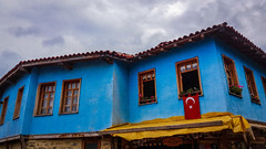 Star and crescent (zeyneperdomu) Tags: trip travel blue windows sky house vintage turkey photography photo explore oldhouses bursa starandcrescent note5