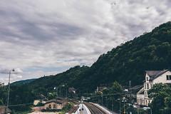 In Silence We Yearn. [in explore on 07/13/16. thank you.  ] (achterbahnmdchen) Tags: blue sky white green nature clouds germany deutschland europa europe hill railway trainstation rheinlandpfalz bacharach rhinelandpalatinate bacharachamrhein achterbahnmdchen