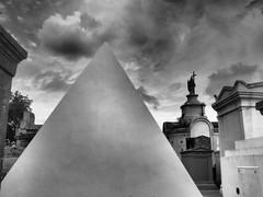 St Louis Cemetery No.1 (DarkLantern) Tags: street bw art monochrome graveyard blackwhite memorial pyramid neworleans tomb olympus cage filter nicolas nola funerary omd bigeasy em10 dramatictone 17mmf18