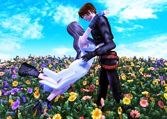 """Eyes on Me"" (Light_Aoshimori) Tags: blue sky squall finalfantasy rinoa flowerfield ff8"