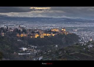 Atardecer sobre la Alhambra de Granada.