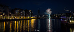Feu d'Artifice du 14 Juillet, Liège (MHPhotography91) Tags: sunset tower port canon stars french landscape golden boat long exposure day cityscape angle belgium fireworks outdoor wide july national hour 14th bastille 1740mm finance liège desaturate 2016 canon6d mhphotography