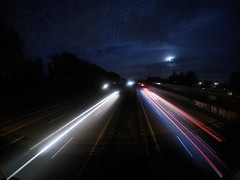 Highway Lights (Reinholdt88) Tags: iso view brigde evening colours contrast skies darkskies moonlight moon nightlapse night shutterspeed longexposure movingobjects speed cars lights freeway highway lightpaint gopro