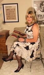 sitting in silk (bethany_labelle) Tags: satin blush dress tgirl transvestite