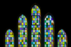 Five stained glass windows (Jan van der Wolf) Tags: map16166vv stainedglass windows ramen kerk church composition compositie bergen colors colours symmetric symmetry symmetrie five vijf 5