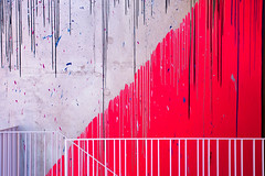 Red (godelieve b) Tags: red rouge mayahayuk mima brussels bruxelles lines lignes colors painting installation mur wall stair escalier scala escaleras surface minimal abstract