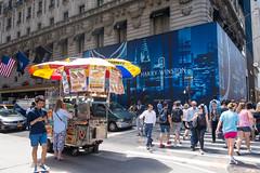Hot Dogs and Diamonds (UrbanphotoZ) Tags: foodcart harrywinston diamonds storefront hotdogs chilidogs hotsausage pretzel hotpotatoknish sabrett drinks beverages umbrellas fifthave crosswalk pedestrians traffic regis midtown manhattan newyorkcity newyork nyc ny