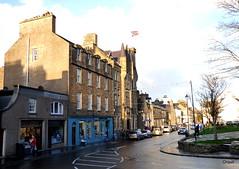 Kirkwall's Broad Street (orquil) Tags: uk houses winter sunshine shop islands scotland orkney december sunny shops townhall kirkwall broadstreet towncentre kirkgreen judithglue