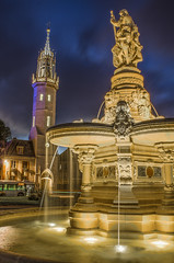 Fontbef (cyrilphoto) Tags: city night hoteldeville fontaine nuit hdr evreux beffroi