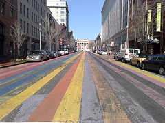 Stripes! (shumpei_sano_exp9) Tags: cameraphone street color shozu washingtondc nokia dc downtown pavement stripes 8thstnw imagespace:hasdirection=false