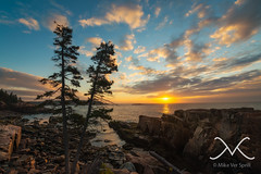 Acadia Sunrise (Michael Ver Sprill) Tags: ocean travel trees sunset sun seascape me water beautiful clouds sunrise landscape nikon rocks maine explore eastcoast d800 acadianationalpark thunderhole nd8 fotodiox michaelversprill mikeversprill wonderpana milkywaymike