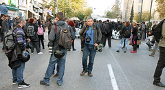 Greek press photographers at a protest march in Athens, Greece (paul.katzenberger) Tags: protest athens greece press demonstrators pressphotographers eurocrisis