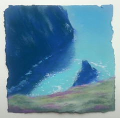 This is just beyond Stepper Point when you take the coast path out from Padstow. This is a pastel on paper that is a bit like sandpaper.  It takes the skin off your fingers if you try to do too much. 20 x 20. (carolyntaplin78) Tags: blue water cornwall teal sae cliffs sparkle padstow clifftop stepperpoint