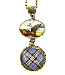 Ancient Romance Series - Scottish Tartans Collection - Anderson Hunting Tartan Necklace with Victorian Steeplechase Charm