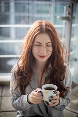 morning coffee (counting.clouds) Tags: morning portrait woman coffee girl beautiful beauty smile smiling female hair long wind tea balcony redhead