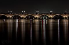 Bordeaux bridge Long exposure ((Virginie Le Carré)) Tags: longexposure bridge reflection night bordeaux pont nuit pontdepierre reflets nocturne pauselongue