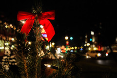 Happy 1st Day of December! (bryan.lagarde) Tags: life christmas winter red sky colors beautiful night america canon lights colorful downtown december bokeh michigan frankenmuth 60d