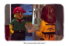 """""""Well, we also accept credit cards..."""" (CitizenSandwich) Tags: guy sad lego pizza mrs robinson oblivious minifigures cucucachoo"""